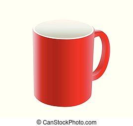 Taza roja en blanco
