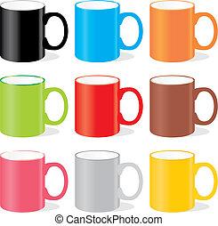 Tazas de color aisladas
