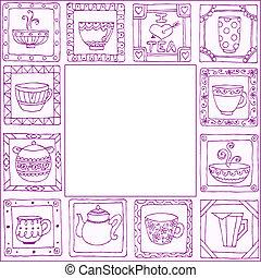 Tazas de té y ollas enmarcadas a mano diseño dibujado