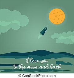 Te quiero a la Luna y a la tarjeta de felicitación