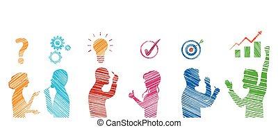team., success., gesturing., descubrimiento, solución, el solucionar, concepto, perfil, empresa / negocio, problema, gente, stickman, análisis, estrategia, servicio, coloreado, cliente, problems., solution.