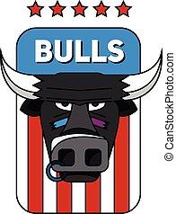 team., toro, nariz, logotipo, deportes, ring.