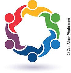 teaming, conectado, gente, 6.concept, otro., feliz, porción, icono, vector, grupo, amigos, cada