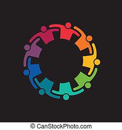 teaming, trabajo en equipo, arriba, abrazo, personas., icono, vector, grupo, 9, compromiso, concepto, united.