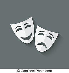 teatral, comedia, máscaras de tragedia