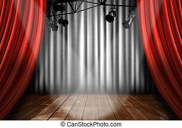 teatro, actuación, luces, rendimiento, proyector, etapa