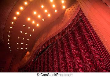 Teatro con cortina roja