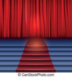 Teatro con cortina roja y alfombra.