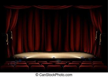 Teatro con cortinas de teatro