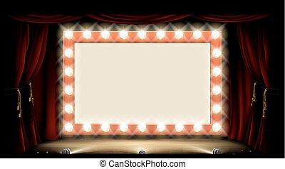 Teatro o cine con un letrero de bombilla