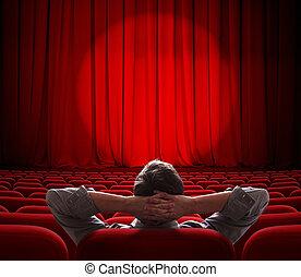 teatro, vestíbulo, sentado, hombre, cine, solamente, vacío, o