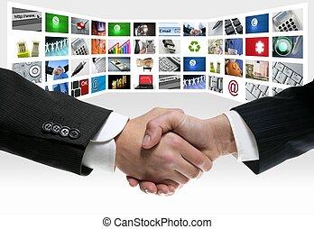 Tech TV video de comunicaciones apretón de manos