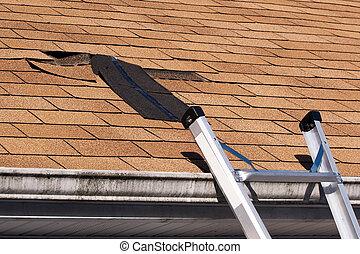 techo, dañado, reparación, tablillas