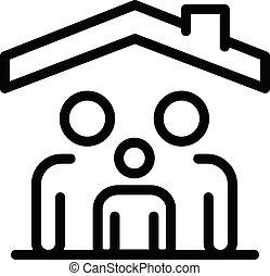techo, estilo, contorno, debajo, familia , icono