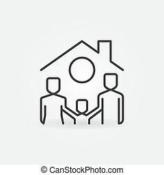 techo, familia , casa, debajo, icono, vector, línea, feliz, concepto