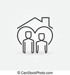 techo, línea, hombre, casa, mujer, vector, icono, debajo