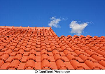 techo, rojo, azulejo, textura
