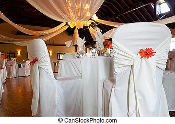 techo, sillas, lugar, decoración, boda, cubierto