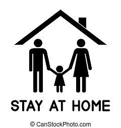 techo, su, debajo, familia , feliz, house.