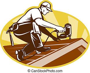 techo, techado, trabajando, techador, trabajador