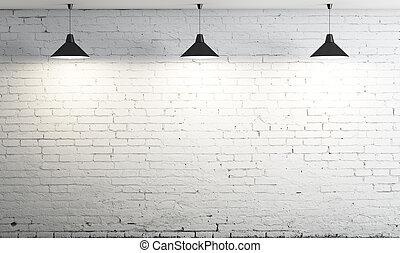 techo, tres, lámpara