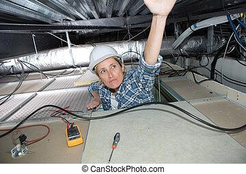 techo, ventilación, hembra, electricista, instalación