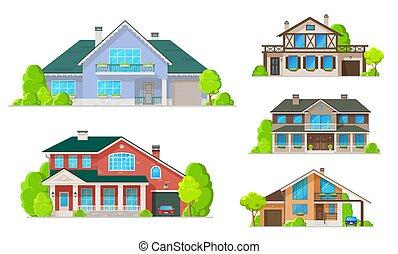 techos, edificios, windows, casa casa, o, puertas