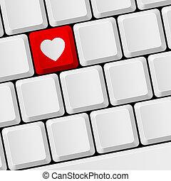 Teclado con botón del corazón