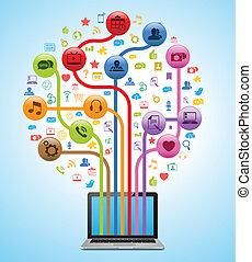 tecnología, app, árbol