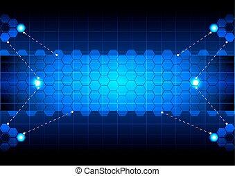 Tecnología azul abstracta del hexágono