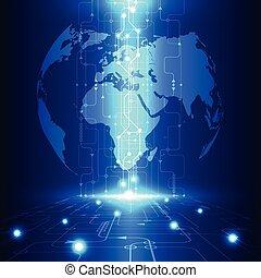 Tecnología de futuro global abstracto Vector, telecomunicación eléctrica