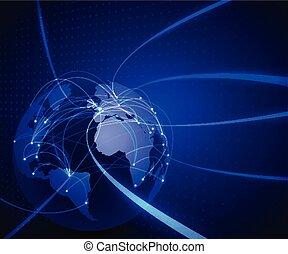 Tecnología de red de malla mundial y concepto de comunicación fondo, ilustración vectorial