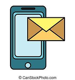 Tecnología de smartphone con mensaje electrónico