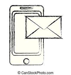 Tecnología de smartphone grunge con mensaje electrónico