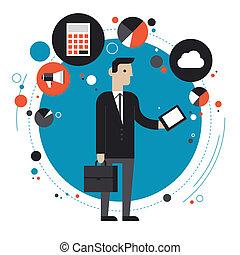 Tecnología del concepto de ilustración plana de negocios