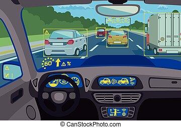 Tecnología del sistema en el auto. Ilustración de vectores