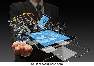Tecnología en manos de hombres de negocios