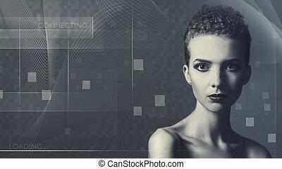 Tecnología futura y ciencia, retrato femenino para tu diseño