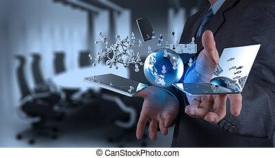 tecnología, moderno, trabajando, hombre de negocios