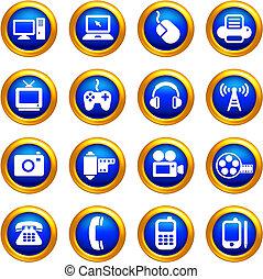 Tecnología y iconos de comunicación en botones con borde dorado