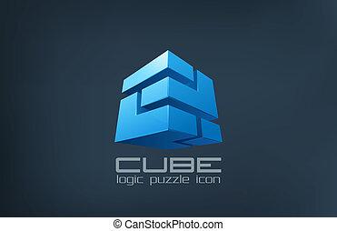 Tecnologia del cubito abstracto. El icono de la caja de rompecabezas lógica.
