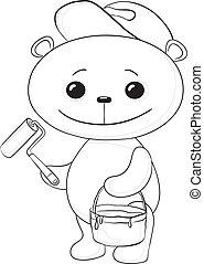Teddy Bear pintor de casas, contorno