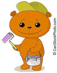 Teddy Bear pintor de casas