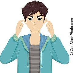 Teen boy cover de oído