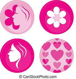 Tejas de vector rosadas o iconos aislados en blanco