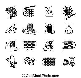 Tejer a mano, bordar y coser iconos