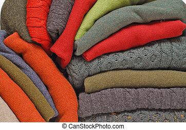 tejer, irlandés, invierno, cable, suéteres, hombres, contra, colores, fornido, caído, otoño, cachemira, blanco, lana, aran, pila
