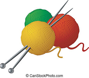 tejido de punto, skeins, lana, agujas