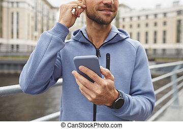 teléfono, aire libre, utilizar, hombre