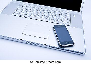 teléfono celular, computadora de computadora portátil